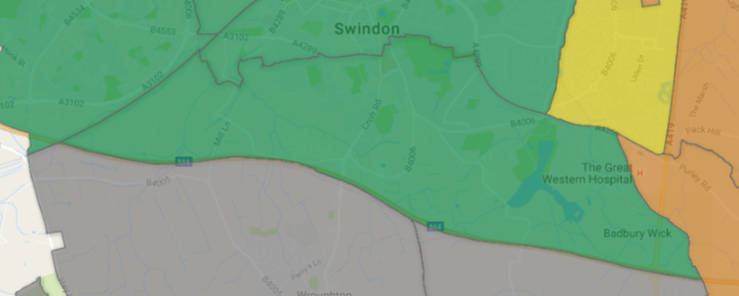 map showing parish between Swindon town centre and M4 motorway